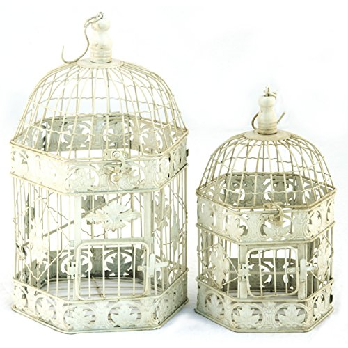 Dekokäfig lot de 2 cages à oiseaux blanc vieilli 6 34 cages à 43 cm motif fleurs rétro