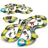deAO 192 Pezzi Flessibile Tracce Treno Dinosauro Regalo per Bambini Giocattoli per Ragazzi 3 4 5 6 Anni, 1 Macchina da Corsa, 3 Dinosauri, 4 Soldati Inclusi