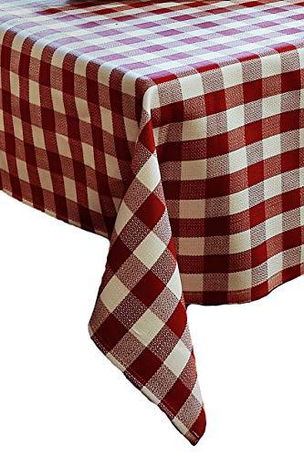 Textildepot24 Tischwäsche mit 2 cm Karo aus Baumwolle - Farbe Rubin-weiß (100x140)