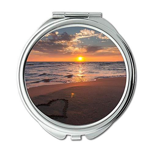 Yanteng Spiegel, Reise-Spiegel, schöner Kunststrand, Taschenspiegel, tragbarer Spiegel