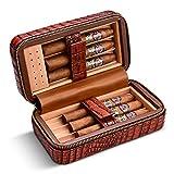 CIGARLOONG Humidor de cigarros de cuero cereza estuche de viaje integrado extraíble bandeja de cedro con humidificador de cigarros