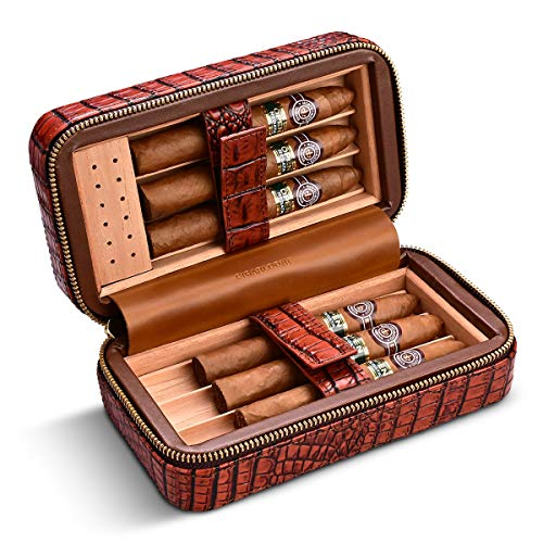 CIGARLOONG Zigarren-Humidor Kirschleder Reiseetui integriertes herausnehmbares Zedernholz-Tablett mit Zigarren-Luftbefeuchter