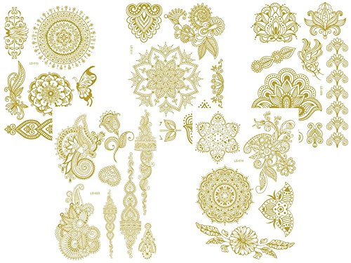 5 Bögen - temporäre Metallic Flash Tattoos - Gold