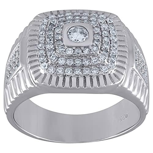 JewelryWeb Hombre 0.925 plata de ley cuadrada Cubic Zirconia