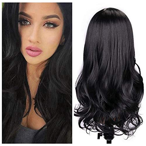 Quantum Love Wigs Natural Black Color Middle Part Long Wavy Wig Heat Resistant Synthetic Daily Party Wig for Women