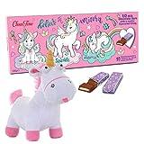 Einhorn Adventskalender Geschenkset mit Plüschtier Unicorn und Schokolade