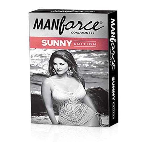 Manforce Condoms (Pack of 10) SUNNY edition 3 in One Ribbed Dotted Anatomically shaped