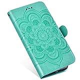 QPOLLY Cover Libro Compatibile con Huawei P30, Custodia Morbido in Pelle PU Portafoglio Flip 360 Gradi Case con Mandala Fiori Disegni Porta Carte Chiusura Magnetica Funzione Supporto Cover,Verde