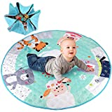 Baby Play Mat, Play Rug Toy Storage Bag, Durable Floor Activity Organizer Mat, Kids Gym Crawling Mat, Soft Washable Foldable Toys Drawstring Organizer Bag with Cartoon Image 43.3 Inches Toddlers