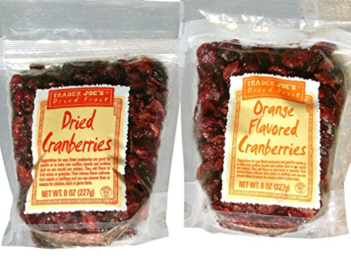 Trader Joes Dried Orange Flavored Cranberries (8oz) & Trader Joes Dried Cranberries (8oz) Variety Pack Total 2 Items