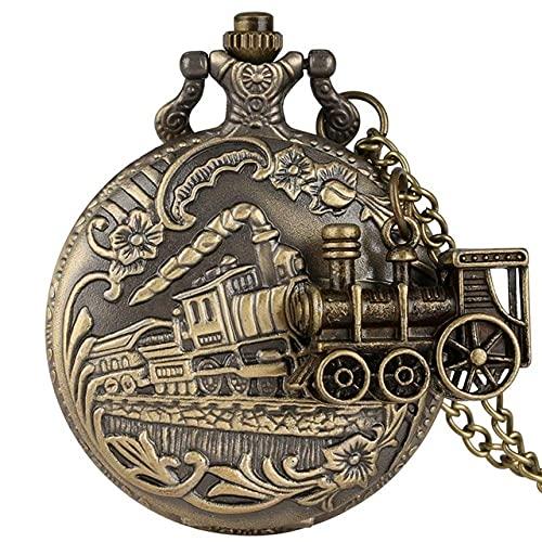 NHLBD Reloj de Bolsillo Vintage Bronce Cuarzo Reloj de Bolsillo Traneo Locomotora Collar Colgante Cadena Colgante Mejores Regalos para Hombres Mujeres con Accesorio de Tren (Color : 1)