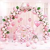 Kit guirnalda globos rosa con hojas de palmera, arco de globos rosados Macaron para niña cumpleaños baby shower confesión boda despedida de soltera decoración