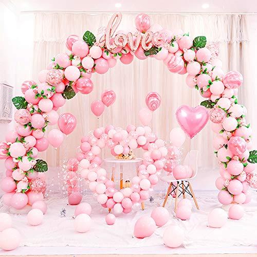 kit Arco Palloncini Rosa per Matrimonio Compleanno Confessione, Palloncini Ghirlanda, Palloncini in Lattice foglie di tartaruga tropicale per futura sposa, anniversario, addio al nubilato, battesimo