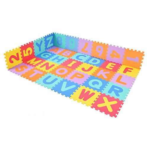 DREAMADE Puzzlematte 36 Stück, Spielmatte Puzzle Baby, Spielteppich Kinder Schaumstoffmatte 30x30cm, Puzzleteppich Lernteppich, Krabbelmatte Schaumstoffspielmattemit Zahlen und Buchstaben (Bunt)