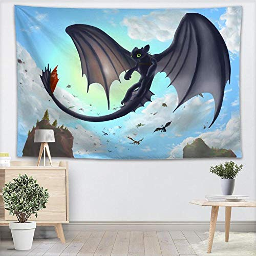 AdoDecor Personalizado Cómo Entrenar a tu dragón Tapices para Colgar en la Pared Tapices Decorativos para el hogar Toalla de Playa Manta Tapiz de Pared de Tela 150x100CM