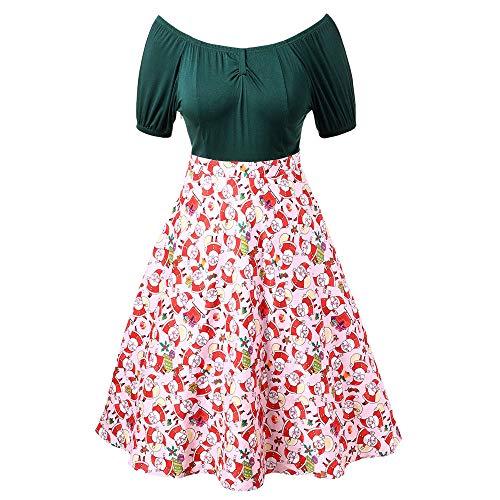 VEMOW Herbst Mode Elegant Damen Abendkleid Frauen V-Ausschnitt Bänder Frohe Weihnachten Weihnachtsmann Print Party Dating Midi Kleid(Y1-Grün, 36 DE/L CN)