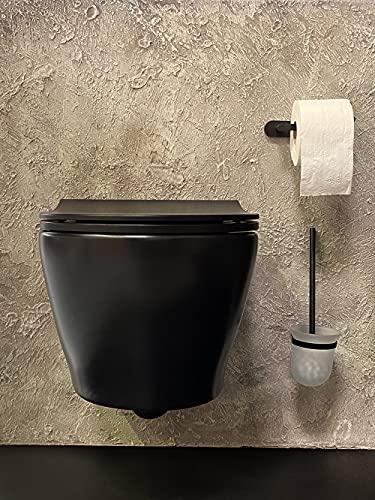 Inodoro suspendido sin borde con función de taharet/bidé/ducha y grifo integrado de agua fría y caliente, color negro