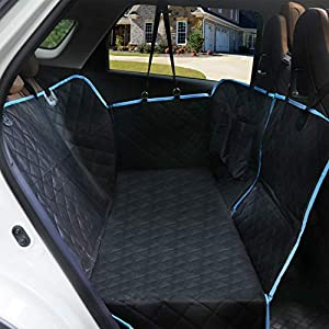 SUPSOO Dogs Back Seat Covers Protector with Mesh Window, Waterproof and Scratchproof & Nonslip Hammock for Pet Backseat Cover Convertible and Side Flaps for Cars/Trucks/SUV – Black