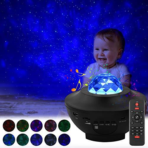 ACBungji LED Rotierende Sternenlicht Projektor Sternenhimmel Lampen Delicacy Bluetooth Musik Sternenprojektor Wasserwellen Projektor Lampe mit Fernbedienung für Geschenke/Dekoration/Party