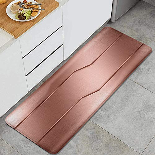 JOSENI Anti-Fatigue Kitchen Floor Mat,Realistic Looking Steel Surface Print Plate Bar Image Technology Inspired Design,Non-Slip Cushioned Door Bedroom Bath Carpet Rug Pad,47.2 x 17.7in