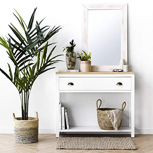 Kenay Home-Consola Mueble De Entrada Recibidor Blanca Madera Natural 2 Cajones Nor 100X25X83Cm (Wxdxh)