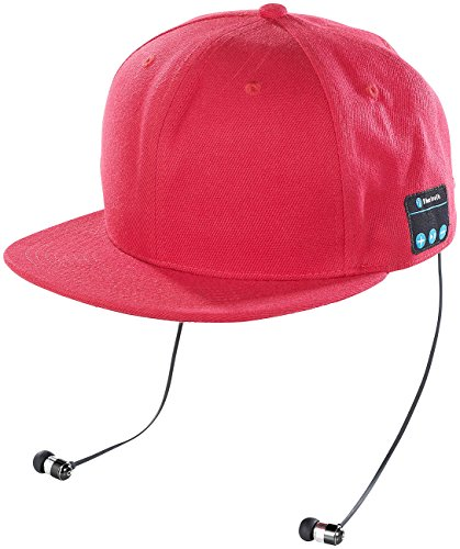Callstel Snap Cap mit Headset: Snapback-Cap mit integriertem Headset, Bluetooth 4.1, rot (Headset Basecap, Bluetooth)