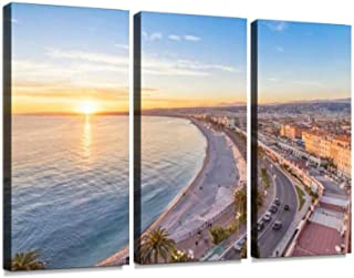 BELISIIS Coast of Azure on Sunset in Nice, France Wall Artwork Exclusive Photography Vintage Abstract Paintings Print on Canvas Home Decor Wall Art 3 Panels Framed Ready to Hang
