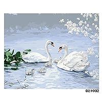数字キットによる5D DIYダイヤモンド絵画、ピーチブロッサムホワイトグースフルドリル刺繡クロスステッチ絵画家の装飾 30x40cm
