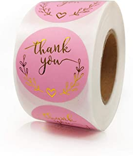 """Thank You Stickers, 1.5"""" Business Sticker Roll 500 PCS Foil Decorative Sealing Labels or Mailing Supplies Pink and Gold Ad..."""