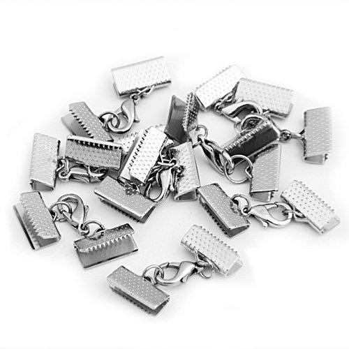 LAQI Colore Argento Argento Confezione da 100 Chiusure a moschettone per collane