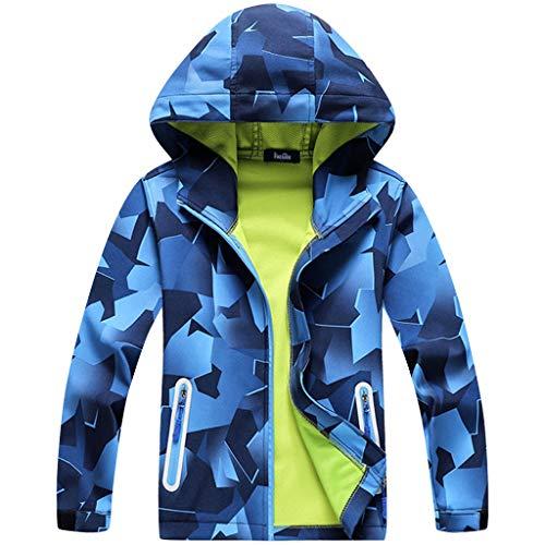Liny jas met capuchon voor jongens, waterdicht, ademend, voor kinderen, winddicht, softshell, winter, wandelen, bedrukte kleding