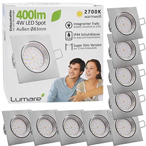 9x Lumare LED Einbaustrahler 4W 400 Lumen IP44 nur 27mm extra flach Einbautiefe LED Leuchtmodul austauschbar Deckenspot AC 230V 120° Deckenlampe Einbauspot warmweiß silber eckig Badezimmer