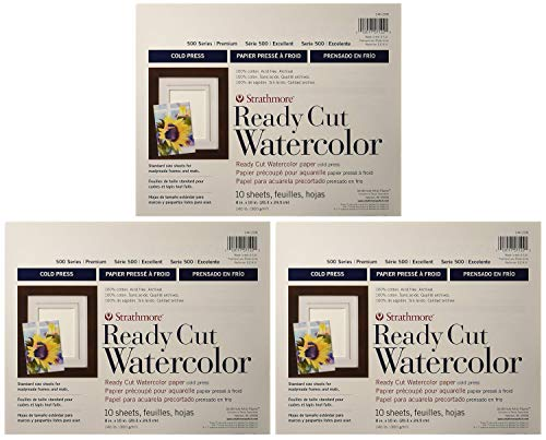 3-Pack - Strathmore 140-208 500 Series Ready Cut Watercolor Paper, 140 lb. Cold Press, 8'x10', 10 Sheets Each