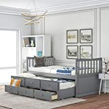 Twin Captain's Bed Storage Daybed with Trundle and Drawers for Kids Teens and Adults (Grey)