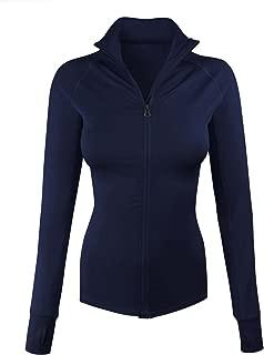 Women's Comfy Zip Up Stretchy Work Out Track Jacket w/Back Pocket