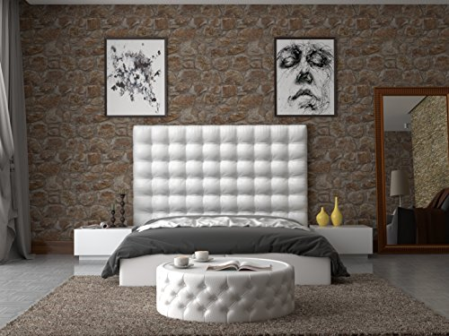 LA WEB DEL COLCHON - Cabecero tapizado Manhattan para Cama de 200 (210 x 120 cms) Blanco | Cama Juvenil | Cama Matrimonio | Cabezal Cama |