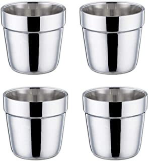 ラン厶ユキ ステンレス 二重構造 コーヒーカップ 保温 保冷 コンパクト キャンプ アウトドア 持ち運びに便利 4個セット 175ML