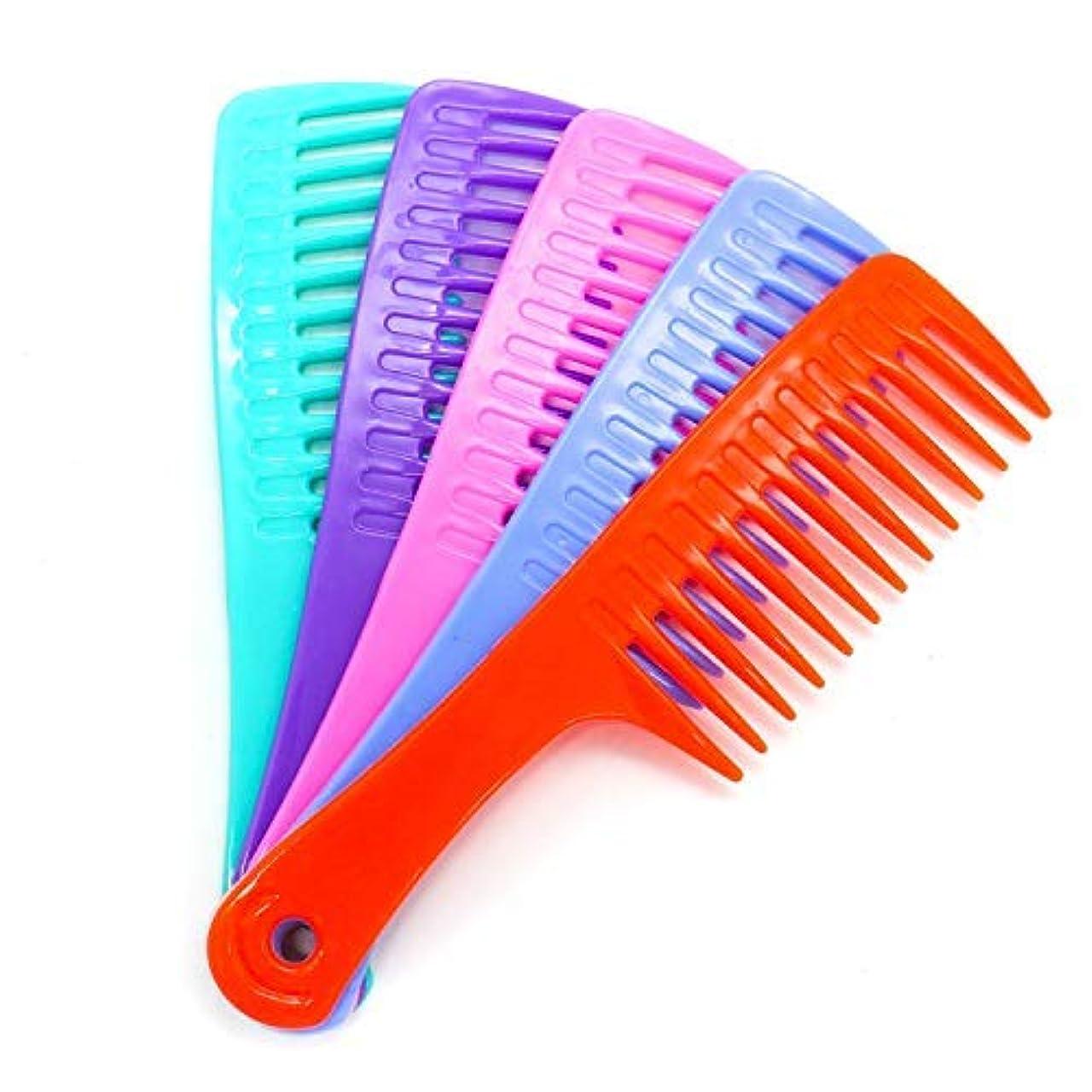下手帽子手伝うHUELE 5 Pack Colorful Wide Tooth Detangler Hair Brush Detangling Comb for Adults & Kids Handle Comb [並行輸入品]