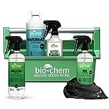Bio-Chem Grill-Box: 6-teiliges Reinigungs-Set/Pflege-Set mit Grill-Reiniger Grillrost-Reiniger für Grill, Smoker und Zubehör mit Mikrofasertuch und Werkzeugbox 2,5 L