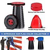ComfiTime Folding Stool (Red) – Portable Foldable Stool for Indoor (Kitchen/Bathroom) and Outdoor (Camping/Fishing/Hiking/Travel/Garden) Use, Retractable/Collapsible Plastic Stool for Adults or Kids
