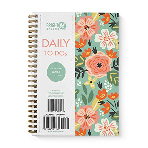 to Do List Daily Task Checklist Planner Time Management Notebook by Bright Day Non Dated Flex Cover Spiral Organizer 8.25 x 6.25