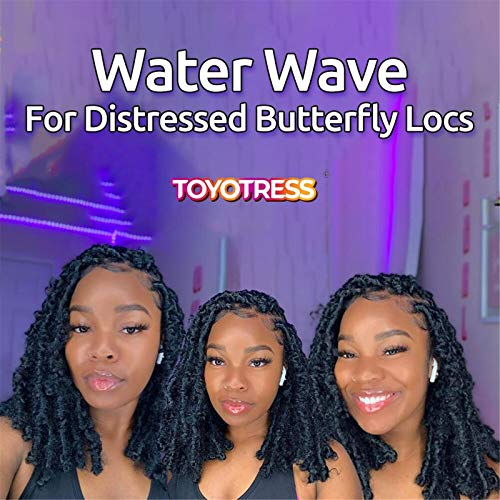 Passion Twist Hair - 22 Inch 7packs Natural Black Water Wave Crochet Braids Synthetic Braiding Hair Extensions (22 Inch 7Packs, 1B)…