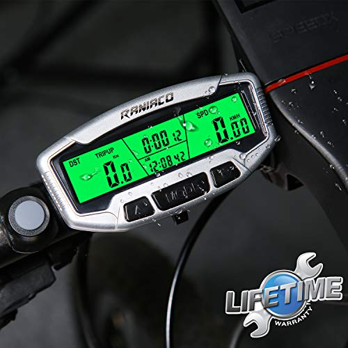 Raniaco Compteur Velo - sans Fils ou Cable, Rétro-éclairage LCD Multifonctions de Réveil...