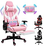 Pink Video Game Chair Ergonomic Computer Gaming Chair PU Leather Racing Chair High-Back Desk Office Chair Adjustable Swivel Chair with Headrest Massage Lumbar Support Footrest (Pink)