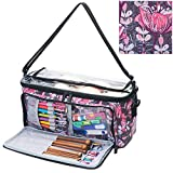 VOSDANS Yarn Storage Bag Organizer with 3 Holes, Knitting Tote Bag for Yarn and Unfinished Project, Organizer Pockets for Knitting Needles, Crochet Hooks and Other Accessories, Flower (Bag Only)