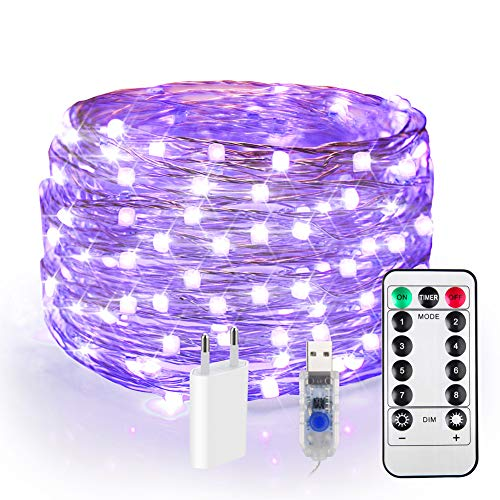 120er LED UV Shwarzlicht, USB Lichterkette Draht Dimmar, 12M UV Licht LED, Halloween Lichterkette Innen, 8 Modi Fairy Lights mit Fernbedienung & EU Stecker, Dekorationsbeleuchtung für Party Karneval
