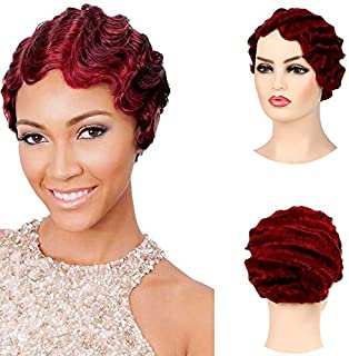 Baruisi Short Nuna Wigs Pixie Wigs for Women Synthetic Finger Wave Curly Hair Wig,Wine Red