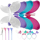 Butterfly Wings Fairy Costume Set for Girls Toddler Princess Angel Wings Dress Up Wings for Birthday Cosplay Party Preschool Activities Play Wings Set of 4 BLUETOP