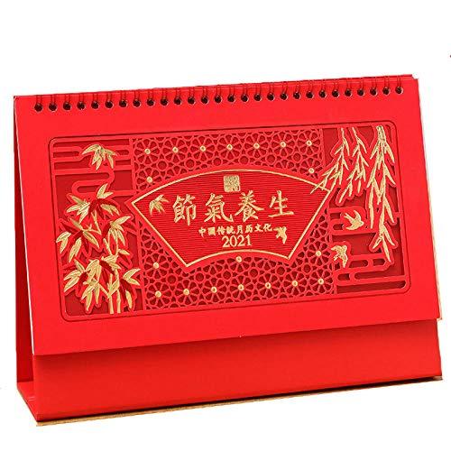Calendario Organizador Chinos Año Nuevo 2021 Calendario 2021 Escritorio para el Año Lunar del Buey,25.5x8x19cm,Patrón de Bambú Chino Cortado en Papel Calendarios de Escritorio para El Año Del Buey Ca