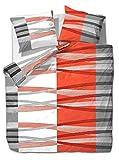 etérea Mikrofaser Bettwäsche - Hunter Streifen - weich und Allergiker geeignet, 2 teilig 135x200 + 80x80 cm, Orange